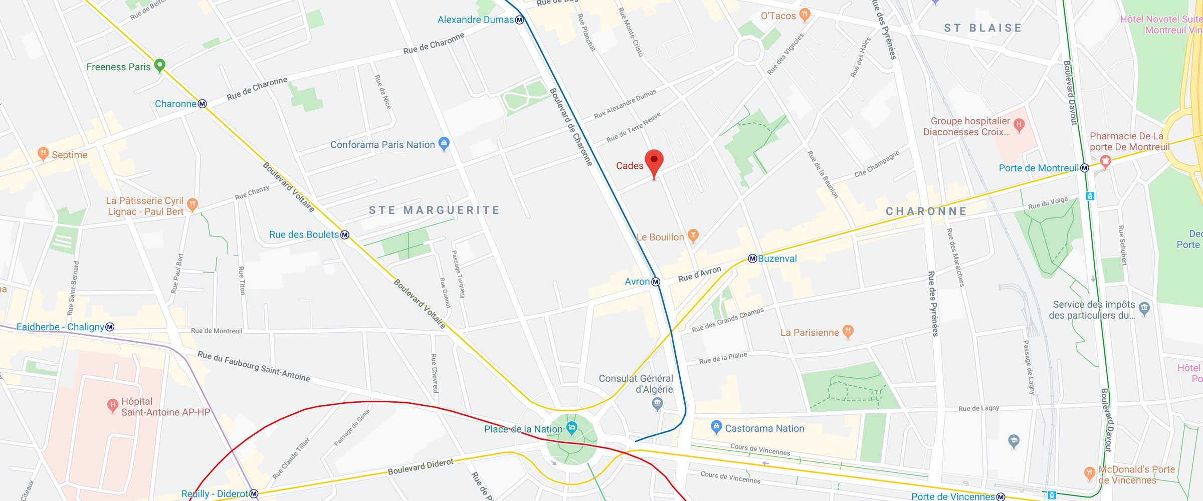 plan cades 12 rue des vignoles 75020 paris france